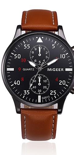 ราคาถูก -สำหรับผู้ชาย นาฬิกาตกแต่งข้อมือ นาฬิกาอิเล็กทรอนิกส์ (Quartz) หนัง ดำ / ฟ้า / น้ำตาล นาฬิกาใส่ลำลอง ระบบอนาล็อก แฟชั่น พระวจนะของนาฬิกา - สีดำ สีน้ำตาล ฟ้า หนึ่งปี อายุการใช้งานแบตเตอรี่ / สแตนเลส