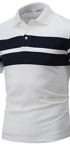 abordables -Homme Bloc de Couleur Polo Col de Chemise Blanche / Bleu Marine / Gris / Manches Courtes / Eté