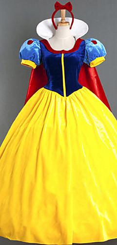 baratos -Princesa Baile de Máscara Mulheres Cosplay de Filmes Princesa Amarelo Vestido Capa Dia Das Bruxas Carnaval Baile de Máscaras Algodão Poliéster