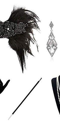 povoljno -The Great Gatsby Čarlston 1920s Gatsby Setovi dodataka za kostime Povorka maski Žene Kostim Narukvica s perlama Igazgyöngy nyaklánc Crn Vintage Cosplay Party Halloween / 1 Ogrlica / 1 par naušnica