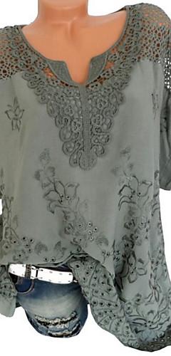 ราคาถูก -สำหรับผู้หญิง ขนาดพิเศษ เสื้อเชิร์ต ลูกไม้ คอวี สีพื้น สีดำ