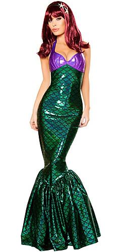 hesapli -The Little Mermaid Deniz Kızı Kuyruğu Elbiseler Cosplay Kostümleri Yetişkin Kadın's Elbiseler Cadılar Bayramı Cadılar Bayramı Karnaval Maskeli Balo Festival / Tatil Polyester Koyu Yeşil Karnaval