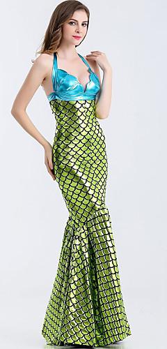 ราคาถูก -หางนางเงือก Aqua Queen Aqua Princess คอสเพลย์และคอสตูม บีกีนี่ Party Costume สำหรับผู้หญิง คอสเพลย์ภาพยนตร์ สีเขียว Tail วันฮาโลวีน เทศกาลคานาวาล เสื้อผ้าที่สวมไปงานเต้นรำสวมหน้ากาก Terylene