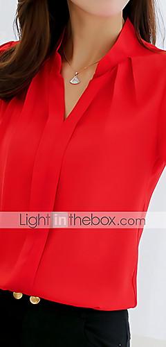 billige -Skjorte Dame - Ensfarget Hvit