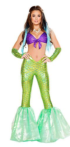 ราคาถูก -หางนางเงือก Aqua Queen Aqua Princess คอสเพลย์และคอสตูม Party Costume สำหรับผู้หญิง คอสเพลย์ภาพยนตร์ สีเขียว กางเกง ชุดชั้นใน วันฮาโลวีน เทศกาลคานาวาล เสื้อผ้าที่สวมไปงานเต้นรำสวมหน้ากาก Terylene
