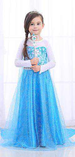 povoljno -Princeza Haljine Cosplay Nošnje Cvjetna djevojka haljina Djevojčice Filmski Cosplay Line-Slip Retro / vintage Princeza Plava Haljina Halloween Maškare Til Pamuk