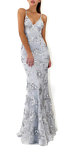 cheap -Mermaid / Trumpet Sparkle Grey Prom Formal Evening Dress V Neck Sleeveless Floor Length Crepe Sequined with Crystals Sequin 2020