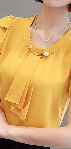 billige -Bluse Dame - Ensfarget Hvit