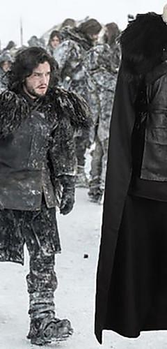 economico -Game of Thrones / Il trono di spade Jon Snow Mantello Costume Per uomo Cosplay da film Nero Top Gonna Mantello Halloween Carnevale pelle sintetica Poliestere
