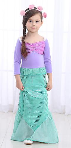 baratos -The Little Mermaid Cauda de Sereia Roupa de Banho Infantil Para Meninas Dia da Criança Ano Novo Festival / Celebração Poliéster Verde Claro / Verde / Azul Trajes de Carnaval sereia