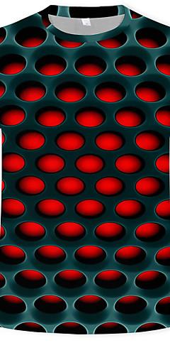 abordables -Homme Grandes Tailles Tee-shirt Graphique 3D Print Manches Courtes Hauts Chic de Rue Exagéré Col Arrondi Blanche Violet Rouge / Eté