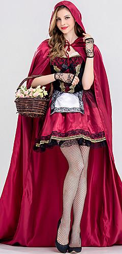 baratos -Chapeuzinho Vermelho Baile de Máscara Mulheres Cosplay de Filmes Princesa fúcsia Vestido Capa Dia Das Bruxas Carnaval Baile de Máscaras Renda Mistura de Seda / Algodão Cetim