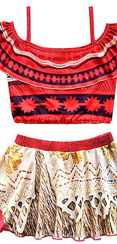 ราคาถูก -ชุดว่ายน้ำ ชุดว่ายน้ำชุดคอสเพลย์ Moana สาวบี สำหรับเด็ก คอสเพลย์และคอสตูม คอสเพลย์ วันฮาโลวีน ทับทิม / สีเหลือง Printing วันคริสต์มาส วันฮาโลวีน เทศกาลคานาวาล / Top