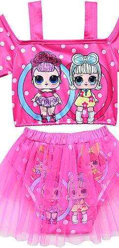 ราคาถูก -ชุดว่ายน้ำ ชุดว่ายน้ำชุดคอสเพลย์ สาวบี สำหรับเด็ก ตูเล่ คอสเพลย์และคอสตูม คอสเพลย์ วันฮาโลวีน สีม่วง / สีบานเย็น / สีชมพู การ์ตูน Printing วันคริสต์มาส วันฮาโลวีน เทศกาลคานาวาล / Top