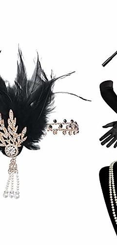 abordables -Charleston Rétro Vintage Années 1920 Gatsby Ensembles d'accessoires de costume Bandeau Garçonne Femme Costume Collier Noir Vintage Cosplay Festival / Gants / Gants