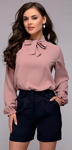 ราคาถูก -สำหรับผู้หญิง เสื้อสตรี เก๋ไก๋และทันสมัย สีพื้น สีแดงชมพู