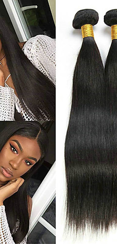 billige -3 pakker Hårvever Brasiliansk hår Rett Hairextensions med menneskehår Remy Menneskehår 100% Remy Hair Weave Bundles 300 g Menneskehår Vevet Hairextensions med menneskehår 8-28 tommers Naturlig Farge