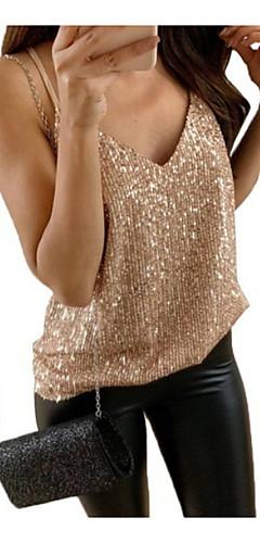 ราคาถูก -สำหรับผู้หญิง ขนาดพิเศษ เสื้อกล้าม แสงระยิบระยับ คอวี สีพื้น สีทอง / ฤดูใบไม้ผลิ / ฤดูร้อน / ตก / ฤดูหนาว