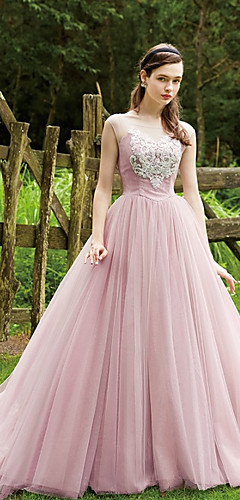 cheap -Ball Gown Elegant & Luxurious Quinceanera Dress Boat Neck Sleeveless Court Train Lace Tulle with Sash / Ribbon 2020