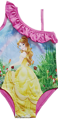 ราคาถูก -ชุดว่ายน้ำ ชุดว่ายน้ำชุดคอสเพลย์ Beauty and the Beast สาวบี สำหรับเด็ก คอสเพลย์และคอสตูม คอสเพลย์ วันฮาโลวีน สีม่วง / สีบานเย็น การ์ตูน Printing วันคริสต์มาส วันฮาโลวีน เทศกาลคานาวาล