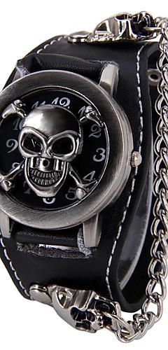 ราคาถูก -สำหรับผู้ชาย นาฬิกาสร้อยคอ นาฬิกาอิเล็กทรอนิกส์ (Quartz) หนัง ดำ Punk หัวกระโหลก ระบบอนาล็อก หัวกระโหลก แฟชั่น - สีดำ