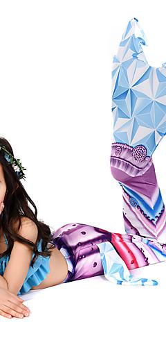 ราคาถูก -คอสเพลย์และคอสตูม ชุดว่ายน้ำ บีกีนี่ The Little Mermaid หางนางเงือก Aqua Princess สำหรับเด็ก Lycra® คอสเพลย์และคอสตูม Mermaid and Trumpet Gown Slip คอสเพลย์ ฟ้า เงือก / Top