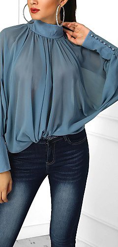 billige -Løstsittende Bluse Dame - Ensfarget, Nagle Blå