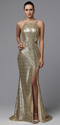 cheap -Sheath / Column Elegant Formal Evening Dress Spaghetti Strap Sleeveless Sweep / Brush Train Sequined with Sequin 2020