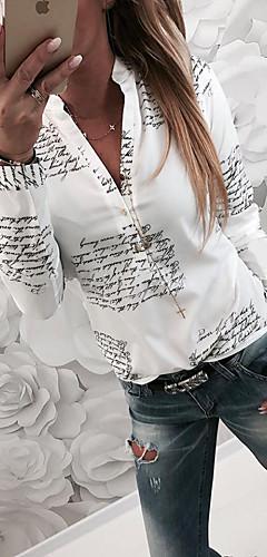 billige -Tynn Skjortekrage Skjorte Dame - Bokstaver Grunnleggende Hvit / Vår / Høst