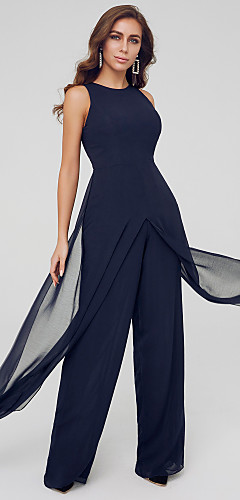 cheap -Jumpsuits Elegant Wedding Guest Formal Evening Dress Jewel Neck Sleeveless Floor Length Chiffon with Draping Split 2020