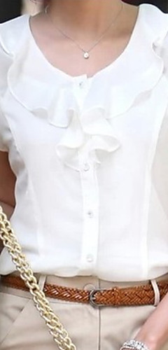 billige -Store størrelser Bluse Dame - Ensfarget Hvit