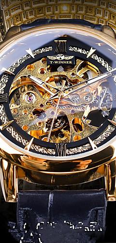 ราคาถูก -WINNER สำหรับผู้ชาย วิศวกรรมนาฬิกา ไขลานอัตโนมัติ หนังแท้ ดำ แกะสลักกลวง noctilucent นาฬิกาใส่ลำลอง ระบบอนาล็อก วินเทจ ไม่เป็นทางการ - สีทอง ฟ้า