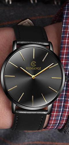 ราคาถูก -สำหรับผู้ชาย นาฬิกาตกแต่งข้อมือ นาฬิกาอิเล็กทรอนิกส์ (Quartz) หนัง ดำ / น้ำตาล นาฬิกาใส่ลำลอง ระบบอนาล็อก แฟชั่น ที่เรียบง่าย ดูง่าย - ดำ / น้ำเงิน Black / Gold White / สีเบจ / หนึ่งปี