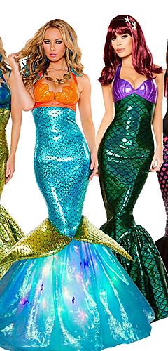 baratos -The Little Mermaid Princesa do Aqua Vestidos Fantasias de Cosplay Baile de Máscara Mulheres Cosplay de Filmes Fantasias Dia Das Bruxas Dourado / Verde Escuro / Gray & Verde Vestido Dia Das Bruxas