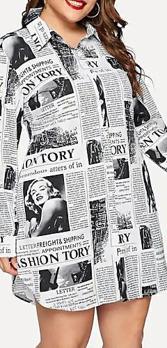 ราคาถูก -สำหรับผู้หญิง ขนาดพิเศษ Street Chic เชิร์ต แต่งตัว - ลายพิมพ์, รูปเรขาคณิต เหนือเข่า คอเสื้อเชิ้ต