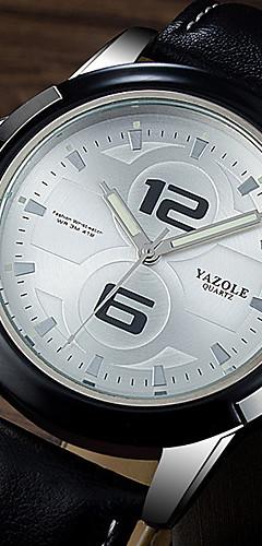 ราคาถูก -YAZOLE สำหรับผู้ชาย นาฬิกาตกแต่งข้อมือ นาฬิกาอิเล็กทรอนิกส์ (Quartz) รูปแบบชุดเป็นทางการ หนัง ดำ / น้ำตาล เรืองแสง นาฬิกาใส่ลำลอง ระบบอนาล็อก ความหรูหรา แฟชั่น - สีดำ สีดำและสีขาว White / สีเบจ