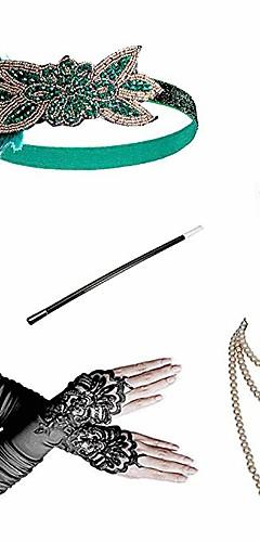 povoljno -Čarlston Vintage 1920s Gatsby Setovi dodataka za kostime Traka za kosu u stilu 20-ih Žene Kostim Crveno / crno / Zeleni i crni / Zlatni + crna Vintage Cosplay Festival