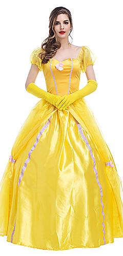 povoljno -Princeza Fairytale ljepotica Haljine Cvjetna djevojka haljina Žene Djevojčice Filmski Cosplay Line-Slip Princeza Bijela Haljina Rukavice Halloween Karneval New Year Terilen