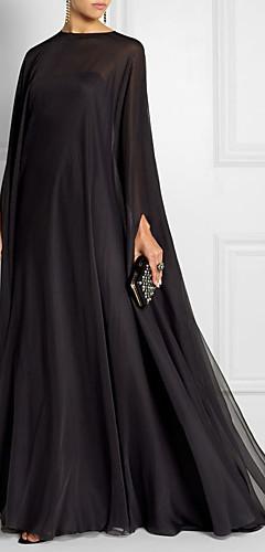 olcso -Szűk szabású Empire Fekete Esküvői vendég Hivatalos estély Ruha Csónaknyak Hosszú ujj Seprő uszály Sifon val vel Rakott 2020