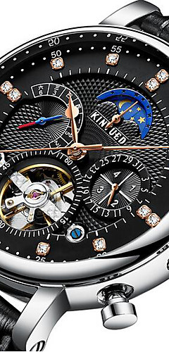 ราคาถูก -KINYUED สำหรับผู้ชาย นาฬิกาเห็นกลไกจักรกล วิศวกรรมนาฬิกา Swiss ไขลานด้วยมือ หนังแท้ ดำ / น้ำตาล 30 m กันน้ำ ระยะที่ดวงจันทร์ Tourbillon ระบบอนาล็อก ความหรูหรา คลาสสิก ไม่เป็นทางการ แฟชั่น - / สองปี