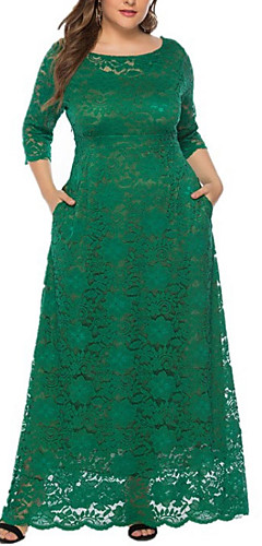 ราคาถูก -สำหรับผู้หญิง รูปตัว เอ แต่งตัว - ลูกไม้, สีพื้น ขนาดใหญ่