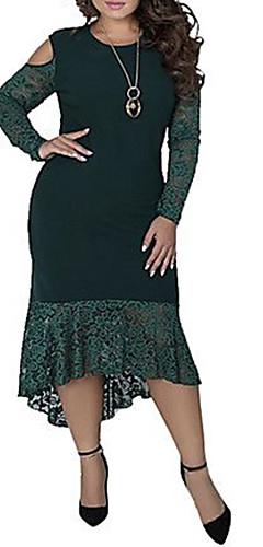 ราคาถูก -สำหรับผู้หญิง Sophisticated สง่างาม ปลอก หางเมอร์เมด แต่งตัว - ลูกไม้ ลายต่อ, สีพื้น ไม่สมดุล