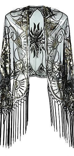 povoljno -The Great Gatsby Čarlston 1920s Haljina s flapperom Kostim za party Žene Šljokice Rese Kostim Crna + Zlatna / Bež / Sive boje Vintage Cosplay Party Prom 3/4 rukava / Shawl / Shawl