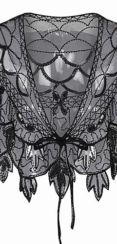 voordelige -The Great Gatsby Charleston 1920s Flapper Dress Feestkostuum Dames Pailletten Kostuum Zwart / Black + Golden / Black + Sliver Vintage Cosplay Feest Schoolfeest Korte mouw / Shawl / Kleding / Shawl
