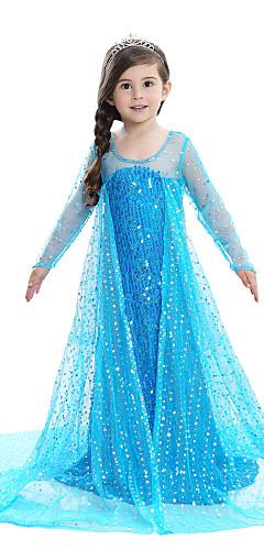 povoljno -Princeza Elsa Haljine Cvjetna djevojka haljina Djevojčice Filmski Cosplay Line-Slip uzorak haljina Pink / Plava / Obala Haljina Dječji dan Maškare Šljokice Pamuk Voile