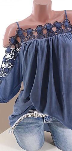 ราคาถูก -สำหรับผู้หญิง เสื้อสตรี ลูกไม้ ไร้สาย หลวม สีพื้น สีดำ