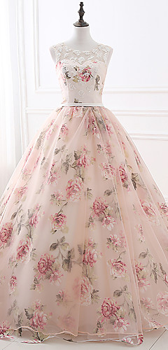 cheap -Ball Gown Floral Pink Quinceanera Formal Evening Dress Illusion Neck Sleeveless Chapel Train Satin Tulle with Beading Pattern / Print Appliques 2020