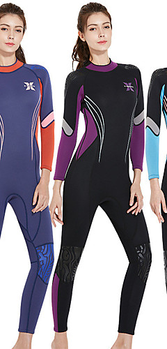 cheap -Dive&Sail Women's Full Wetsuit 3mm SCR Neoprene Diving Suit Thermal / Warm UV Resistant UPF50+ Long Sleeve Back Zip - Diving Water Sports Patchwork / Stretchy