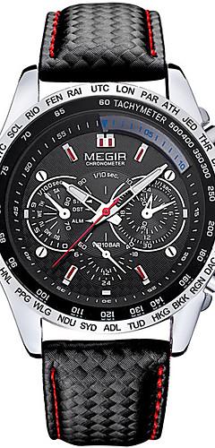 ราคาถูก -Megir ผู้ชายนาฬิกาควอทซ์หรูหราหนังกีฬานาฬิกาข้อมือวันที่นาฬิกาควอตซ์นาฬิกา