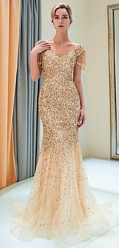 cheap -Mermaid / Trumpet Sparkle Gold Party Wear Formal Evening Dress V Neck Short Sleeve Sweep / Brush Train Tulle Sequined Polyester with Sequin 2020